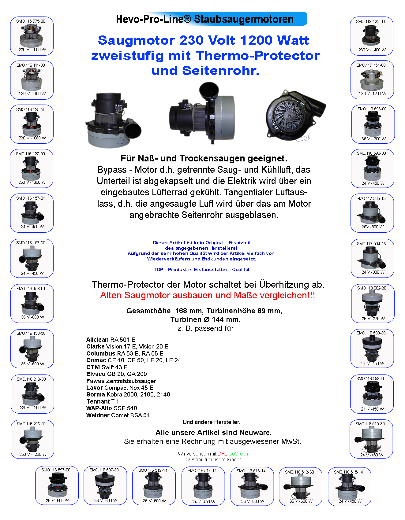 HEVO-Pro-Line ® Saugmotor saugturbine 230 V 1200 W Smart 251