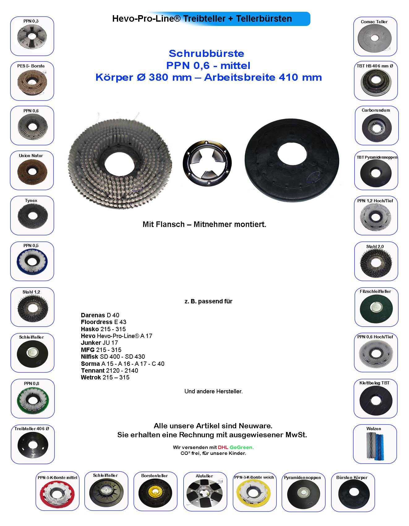 mittel Schrubbürste passend für Sorma A 22  PPN-3-K-Borste