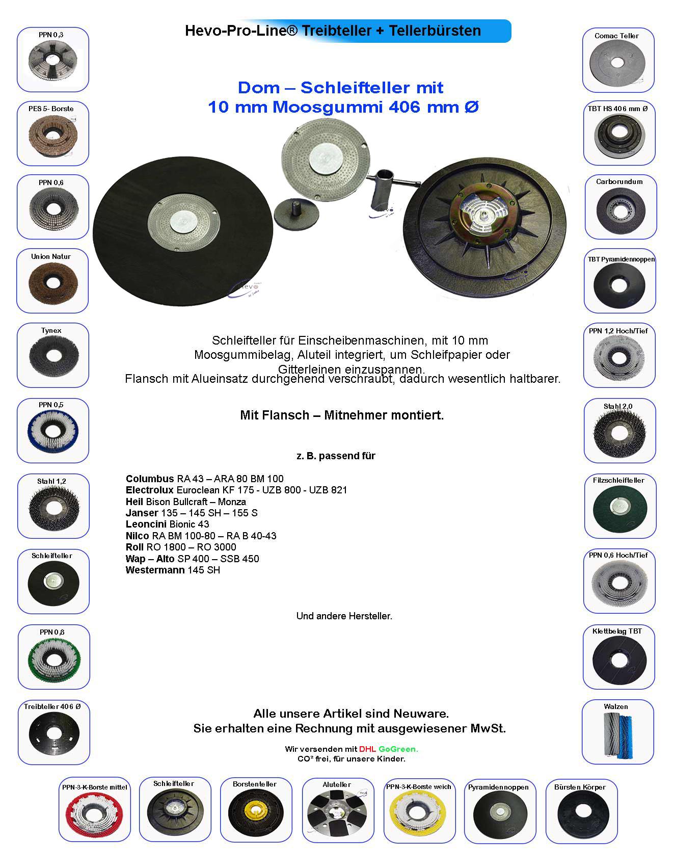 Dom-Schleifteller Moosgummi passend für Electrolux Euroclean UZB 821-406 mm Ø