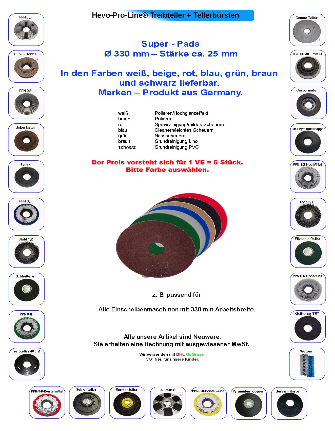Pads Reinigungspads  Ø 330 mm Stärke ca 250 Super 25 mm für Columbus E